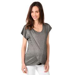 T-shirt met korte mouwen in een decoratieve, gemengde stof van lurex