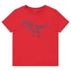 T-shirt met korte rode mouwen en met dinosaurusprint