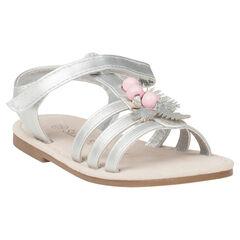 Zilveren sandalen met parels en bladeren met pailletjes