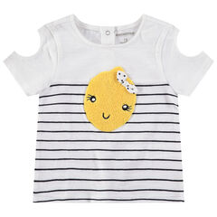 T-shirt van jerseystof met korte mouwen en schouders met ajour en citroen van bouclé