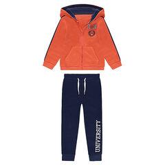 Jogging en molleton avec veste à capuche orange et pantalon printé bleu marine