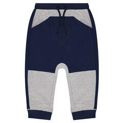 Pantalon de jogging bicolore en molleton
