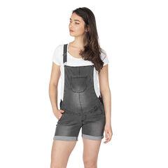 Salopette courte de grossesse en jeans effet used avec élastiques côtés