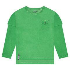 Junior - T-shirt met lange mouwen, 2-in-1 effect en zakje