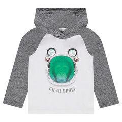 Tee-shirt manches longues à capuche avec singe printé