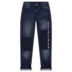 Junior - Jeans met used en crinkle-effect en met opschrift