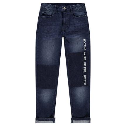Junior - Jeans effet used et crinkle avec inscription printée