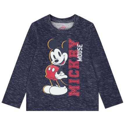 T-shirt met lange mouwen uit gemêleerde jerseystof met print van Mickey Disney