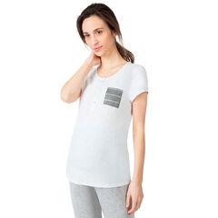 T-shirt met korte mouwen voor tijdens de zwangerschap en de borstvoeding met gestreept zakje