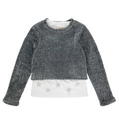Junior - Pull 2 en 1 en maille chenille avec tee-shirt entièrement amovible