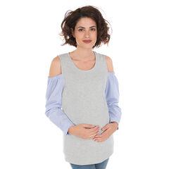 Tee-shirt manches longues effet 2 en 1 à épaules dénudées
