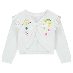 Vest van dunne tricot met decoratief borduurwerk en manchetten met volants
