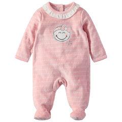 Pyjama van velours met Smiley-print en hals met volants