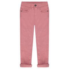 Pantalon en twill doublé polaire avec rivets strass