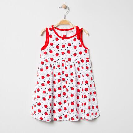 """Mouwloze jurk met """"all-over"""" aardbeienprint"""