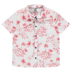 Hemd met korte mouwen en rode allover tropische print