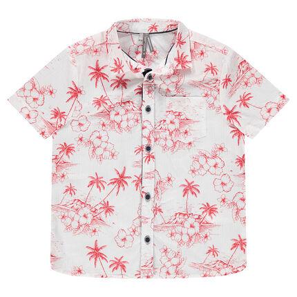 Chemise manches courtes avec imprimé tropical rouge all-over