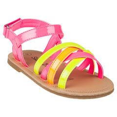 Sandalen met riempjes in fluokleuren.
