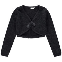 Junior - Vest van blinkende tricot met strikje aan de voorzijde