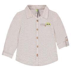 Hemd met lange mouwen met decoratieve strepen en zakje met inzetstuk met krokodil