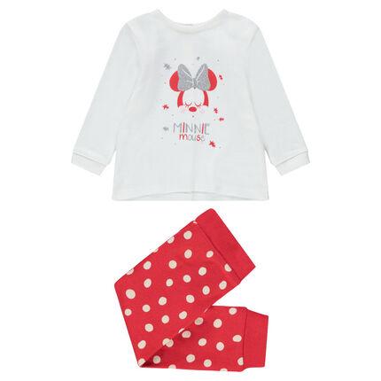 Pyjama uit jerseystof met print van ©Disney Minnie en stippenprint onderaan