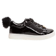 Gelakte sneakers met pompon en gouden ster
