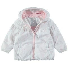 Coupe-vent imprimé lapins all-over doublé sherpa rose