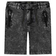 Bermuda en molleton effet jeans blanchi
