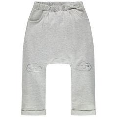 Pantalon de jogging en molleton uni à nuages printés