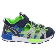 Sandalen in sneakerstijl met fluovoering en klittenbandsluiting