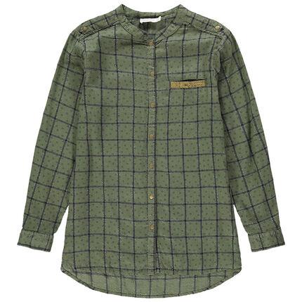 Junior - Chemise manches longues à carreaux et poche à sequins