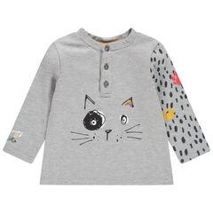 T-shirt manches longues print chat avec manche imprimée