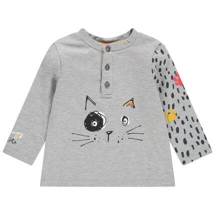 T-shirt met lange mouwen en print met kat met mouwen met print