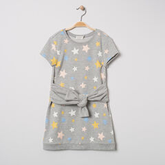 Robe en molleton à étoiles imprimées et ceinture