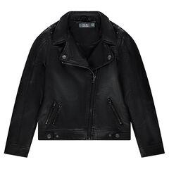 Junior - Perfecto en simili cuir avec rivets en métal et poches zippées