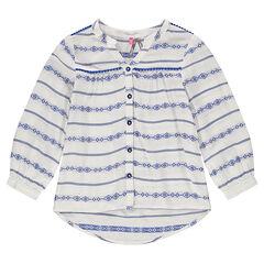 Soepel hemd geborduurd met ikatmotief