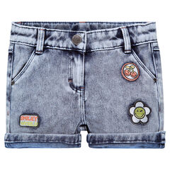Short en molleton effet denim avec badges ©Smiley