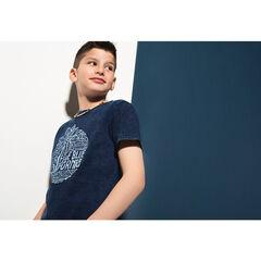 Junior - T-shirt met korte, jeansblauwe mouwen en surfprint