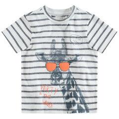 T-shirt met korte mouwen met strepen en giraffenprint