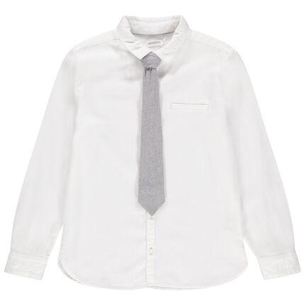Junior - Chemise manches longues à cravate en maille amovible