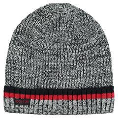 Bonnet en tricot chiné avec rayures contrastées
