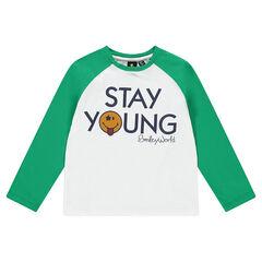 T-shirt met lange mouwen van jerseystof in twee kleuren met vilten ©Smileybadge