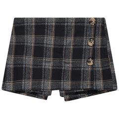 Junior - Jupe-short à carreaux et boutons fantaisie