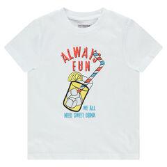 T-shirt met korte mouwen van jerseystof met print met drankje