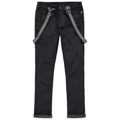 Junior - Pantalon en velours ras coupe slim à bretelles amovibles