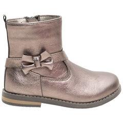 1/2 bottes effet cuir brillant avec noeud et zip du 24 au 29