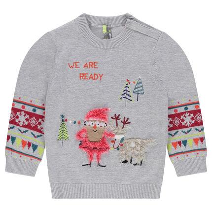 Pull en tricot avec motif jacquard et broderies