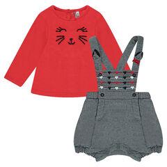 Ensemble tee-shirt manches longues brodé et salopette short en coton chiné