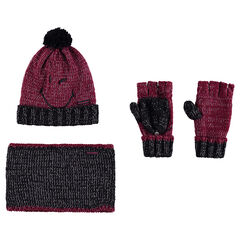 Ensemble avec bonnet broderie ©Smiley, mitaines et snood en tricot