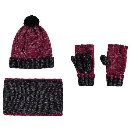 Ensemble avec bonnet broderie ©Smiley, mitaines et snood en tricot